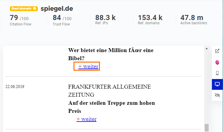 Webseiten Vorschau im LinkMiner