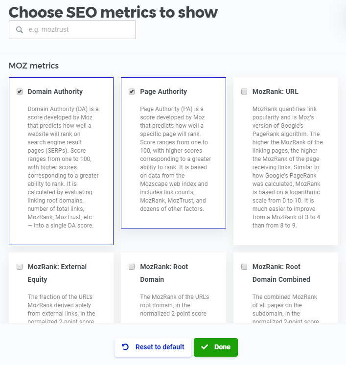 SERPChecker Choose SEO Metrics