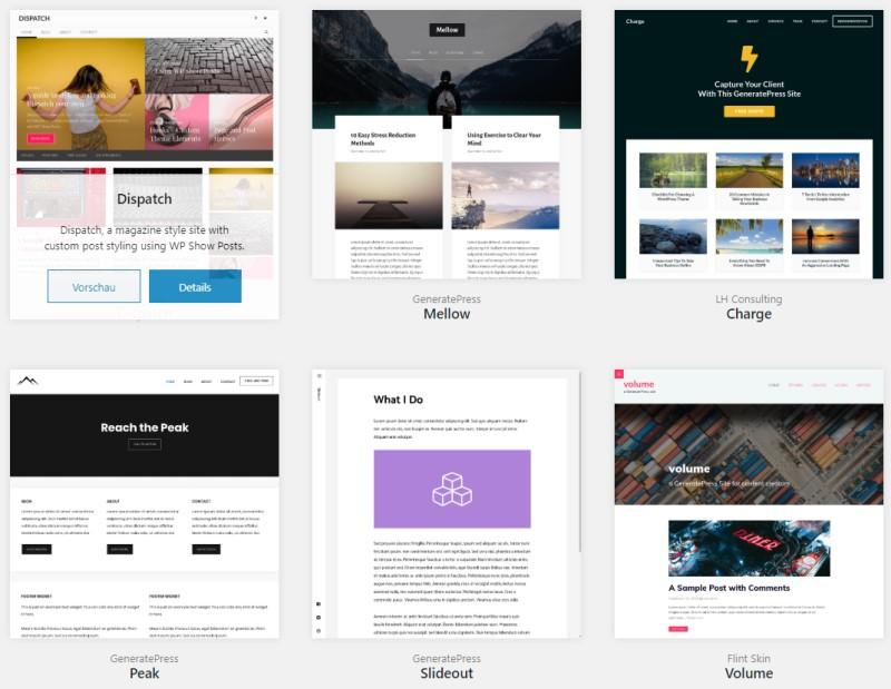 Demo Sites aus der Site Library