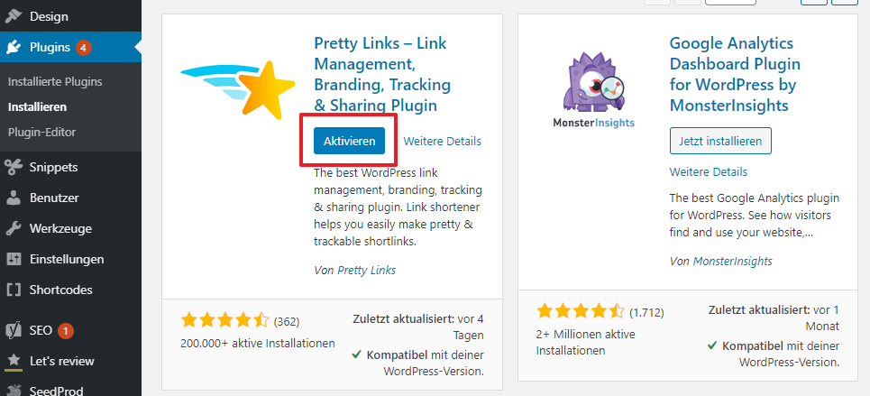 Pretty Links Plugin aktivieren