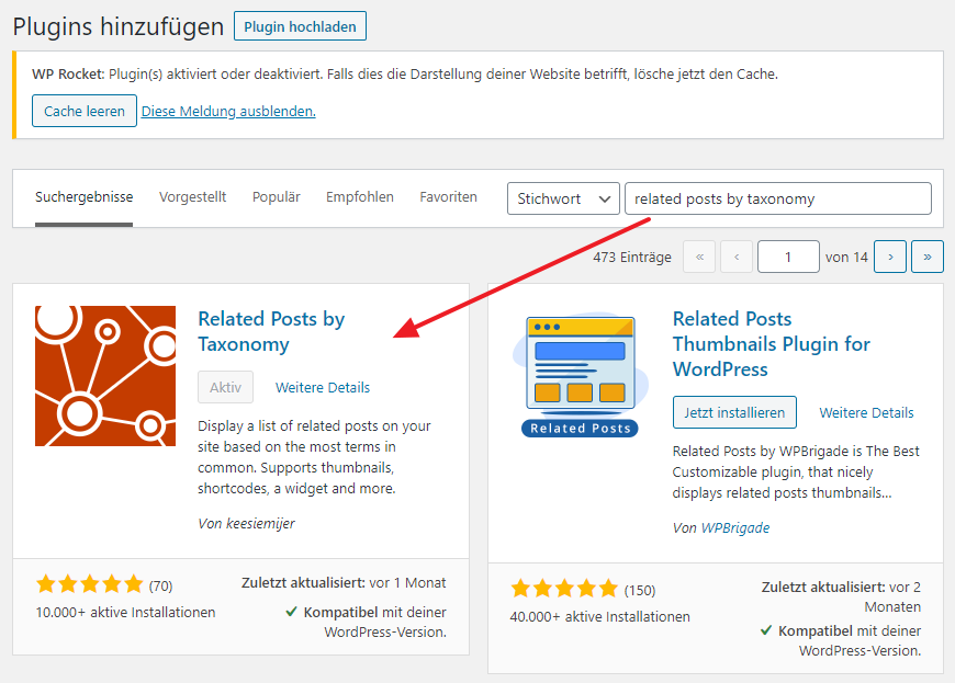 Related Posts by Taxonomy Plugin installieren