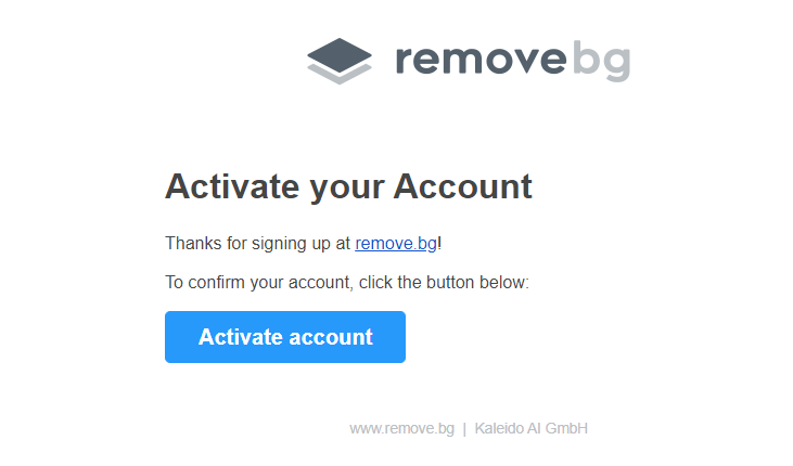 Remove.bg Account aktiviert