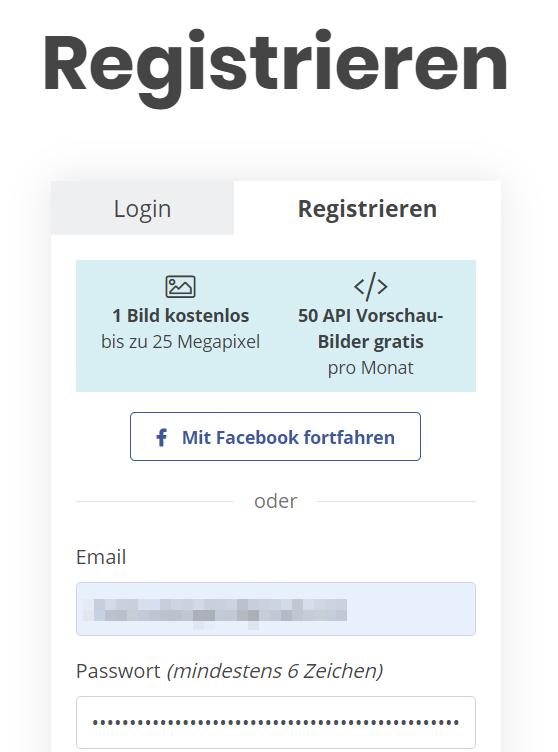 Bei remove.bg registrieren
