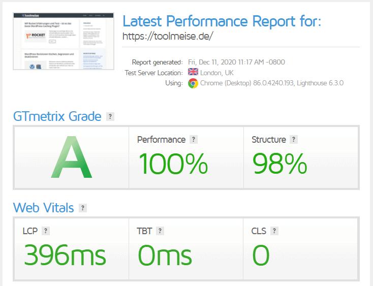 GTmetrix GeneratePress Speed Test
