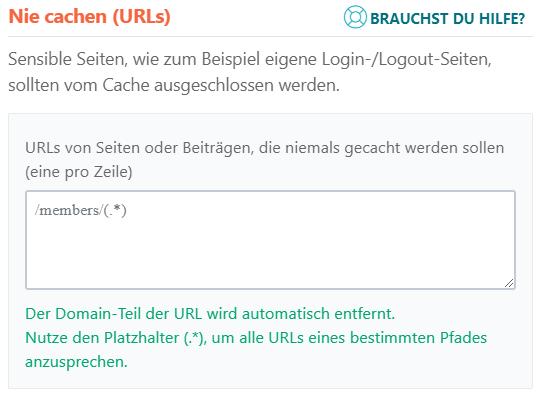 URLs nie cachen