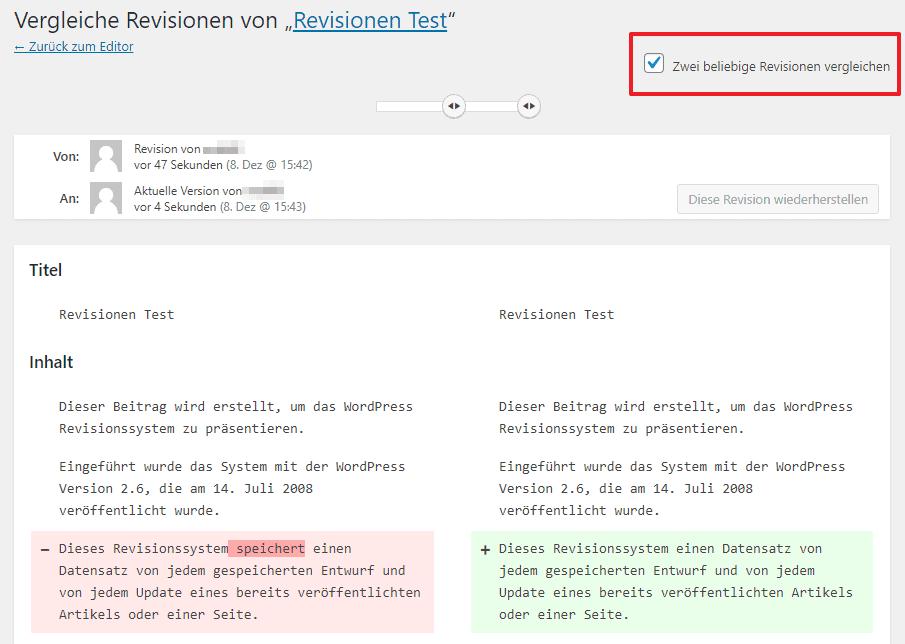 WordPress Revisionen vergleichen